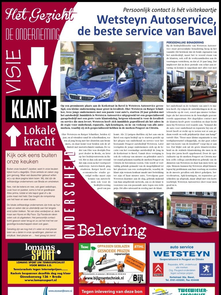 Wetsteyn Autoservice krant